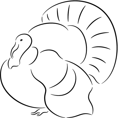 Black silhouette of a turkey, isolated. Vector illustration
