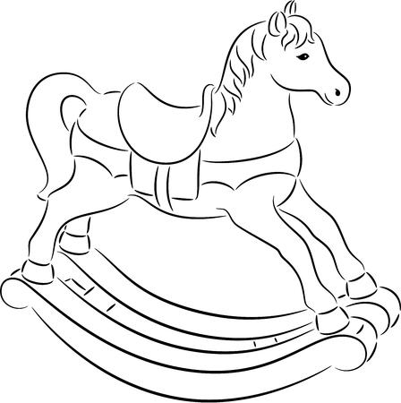 Illustration of funny rocking horse contour, isolated