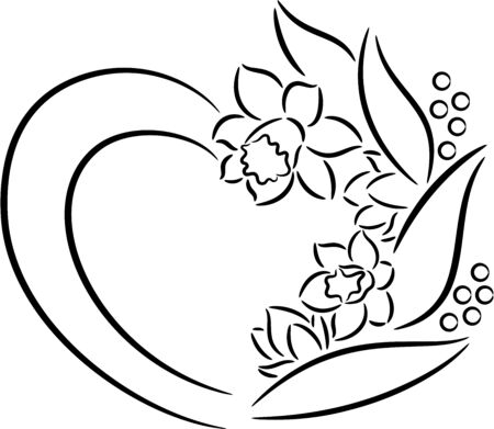 Heart of daffodils flowers, isolated. Vector illustration