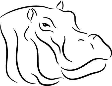 Illustration of a head hippopotamus, isolated