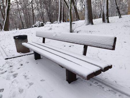 Wooden bench in the snow. Park, winter in Ukraine