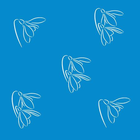 illustration with fresh snowdrop flowers on the blue background 矢量图像