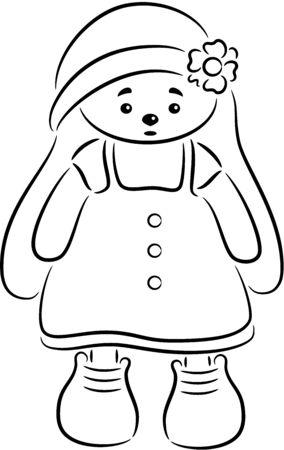 Vector illustration - cartoon Rabbit toy, isolated.