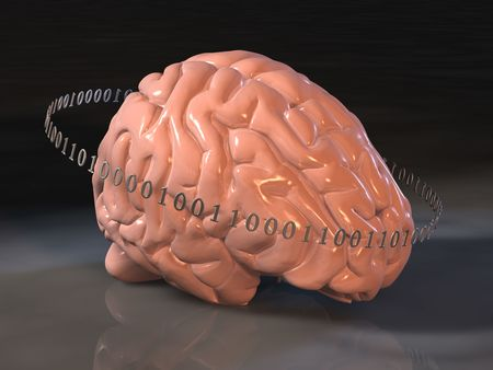 Human brain surrounded by binary code, suggesting the relationship between technology and the mind
