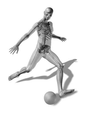 3D rendering of a man about to kick a ball with the skeleton visible through a transparent body Stock Photo