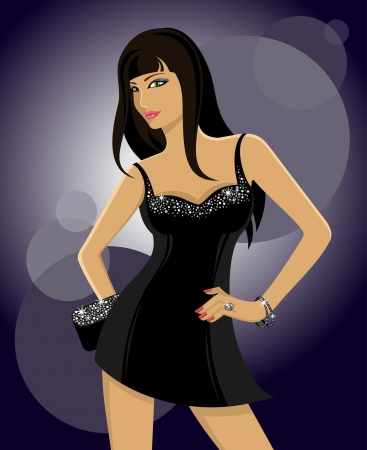 showgirls: Vector Illustration of a clubbing glamorous girl in a black dress on a dark background