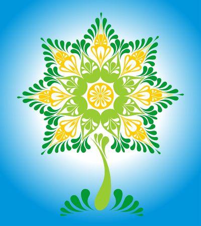 fairy tree: Vector illustration of decorative ornamental fairy tree