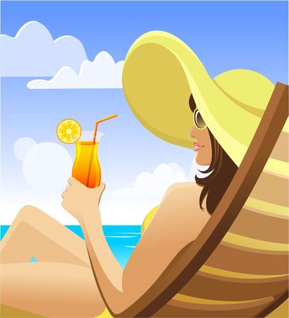 Vector illustration of the dark-haired girl in sunglasses and a yellow hat on a beach with cocktail Vector