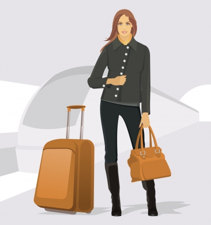 Vector illustration of the traveling young woman at the station Vector
