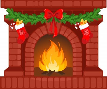 Vector illustratie van de open haard van Kerstmis met sokken