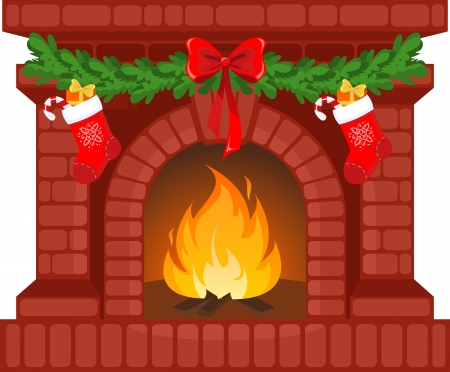 Vector illustration of Christmas fireplace with socks