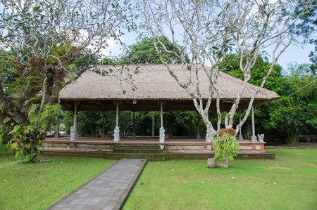 representations: Scene for representations in the temple Taman Ayun, Bali Stock Photo