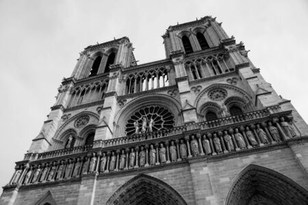 notre dame cathedral: Notre Dame Cathedral, black-and-white