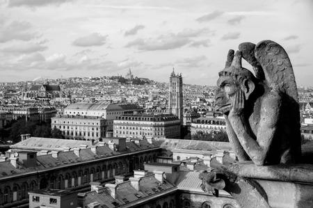 Gargoyle on the top of Notre Dame de Paris, black-and-white Stock Photo