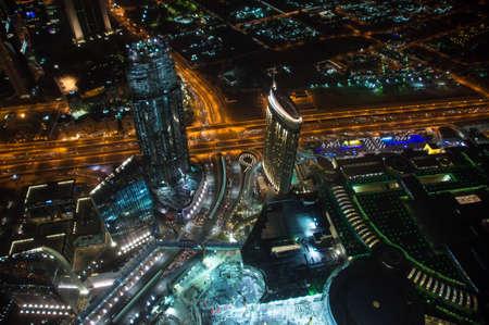 emirates: View of night Dubai, United Arab Emirates Stock Photo