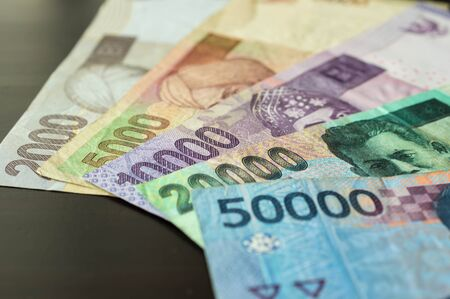 rupiah: Some banknotes of Indonesian rupiah Stock Photo