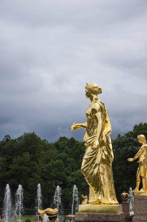 peterhof: Gold figures of the Grand cascade in Peterhof Editorial