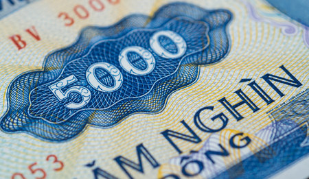 dong: Banknote in five thousand Vietnamese dong close up Stock Photo