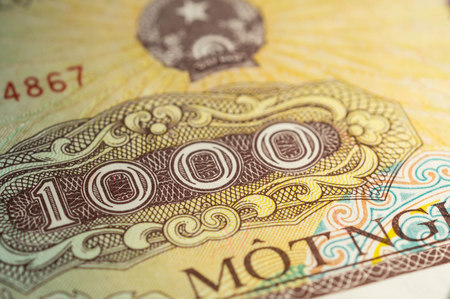 dong: Banknote in one thousand Vietnamese dong close up Stock Photo