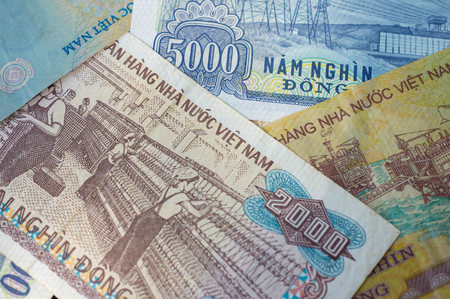 dong: Background from banknotes. Vietnamese Dong