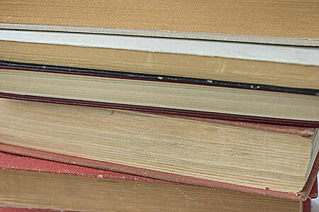 A stack of old books close up Stock Photo