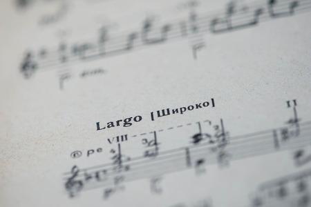 ensemble: Musical tempo Largo in a music book close up
