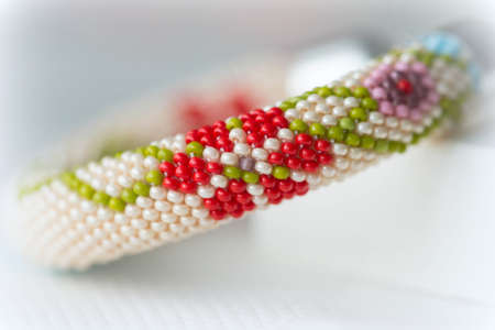 beaded: Beaded bracelet with floral pattern Stock Photo