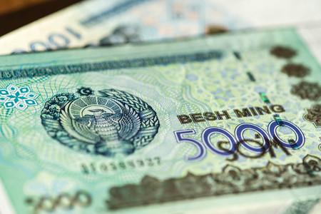 sums: Banknote of five thousand Uzbekistan sums close up
