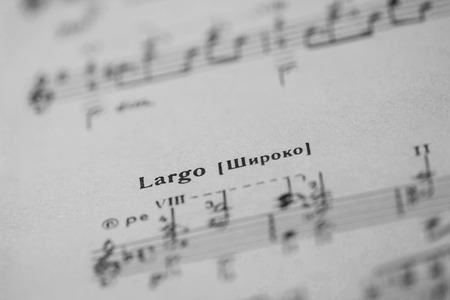 tempo: Musical tempo Largo in a music book close up