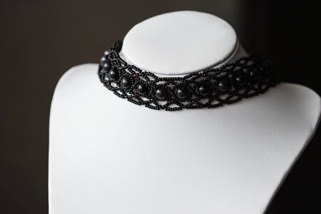 choker: Choker necklace with black beads of stones
