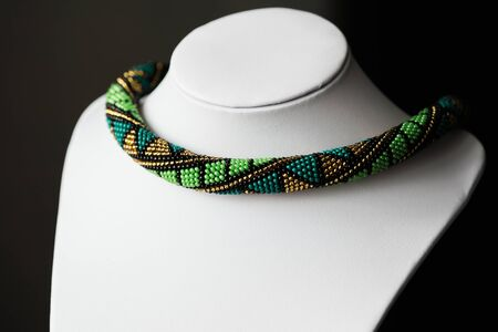beaded: Handmade crochet beaded necklace with geometrical pattern