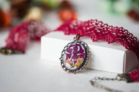 choker: Handmade choker necklace from lace and pendant with natural flowers
