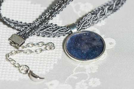 epoxy: Choker necklace from ribbon and handmade pendant of an epoxy resin