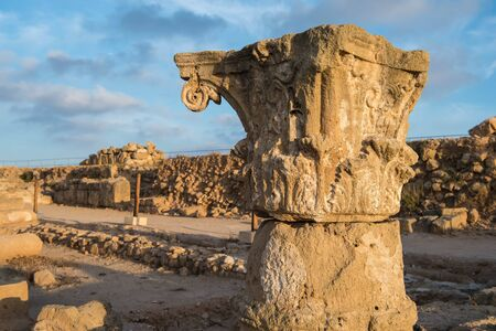 archaeological: Ancient columns. Paphos, Cyprus. Kato Paphos Archaeological Park