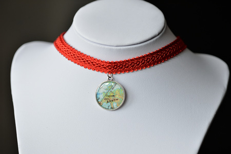 choker: Choker necklace from red ribbon and handmade pendant of an epoxy resin