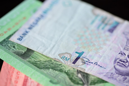 Banknote of one Malaysian ringgit close up