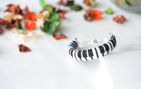 Beaded crochet bracelet like piano keyboard close up
