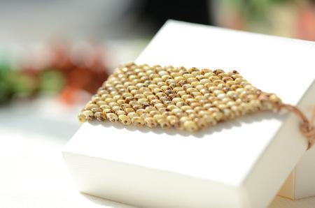 Handmade beaded bracelet with leather closure close up Stock Photo