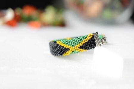 Jamaican flag bead crochet bracelet close up