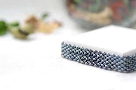 Black beaded bracelet hematite color close up