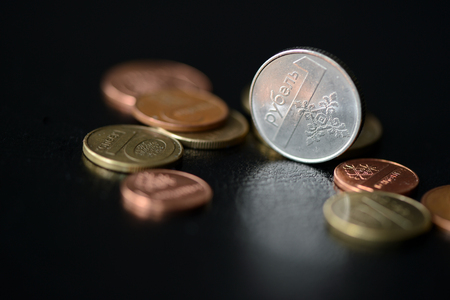 Belarusian coins scattered on a dark surface close up