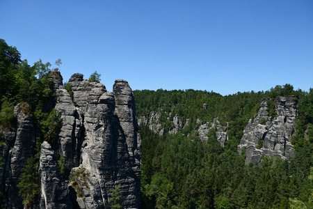 Bastai rock formation (Saxon Switzerland) in summer time, Germany, Europe
