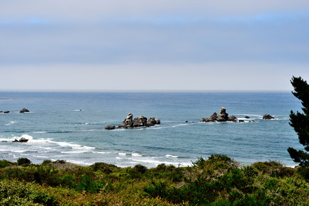 Coast of the Pacific Ocean on a cloudy day. California, USA