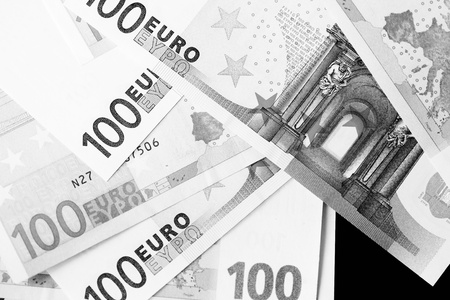 One Hundred euro banknotes as a background close up. Black and white
