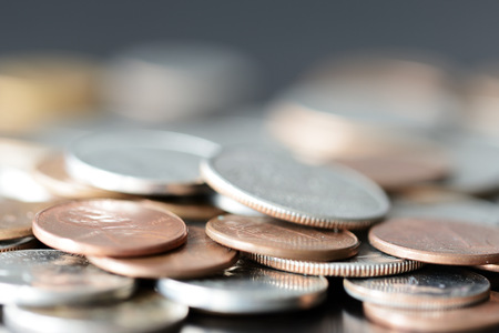 American cents on a dark surface close up Stock Photo