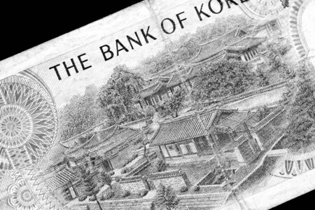 Outdated 1000 Korean Won banknote of 1983 year close up. Black and white 版權商用圖片