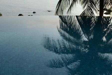Morning view of the ocean and coconut palm tree reflected in the pool. Tropical background