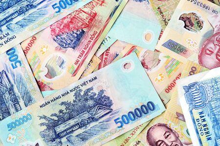 Various Vietnamese dong banknotes close-up. Money background Stock fotó