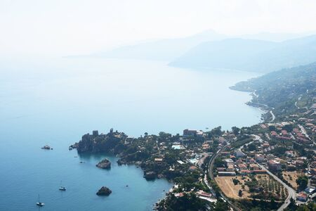 Beautiful view of Cefalu town from the Rocca di Cefalu in the early morning. Sicily, Italy Standard-Bild - 130518487