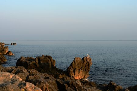 Beautiful seascape in the early morning near the coast of Sicily. Cefalu, Italy Banco de Imagens